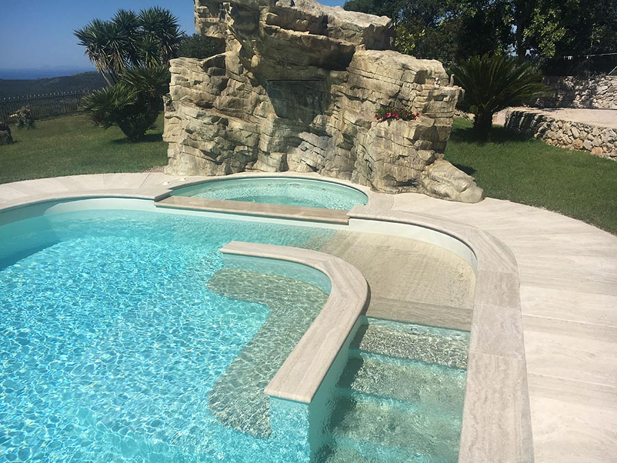 Piscine Interrate A Sfioro Bordo Infinity Skimmer Techno Pool